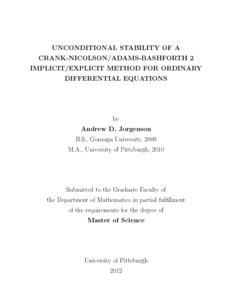 UNCONDITIONAL STABILITY OF A CRANK-NICOLSON/ADAMS-BASHFORTH 2
