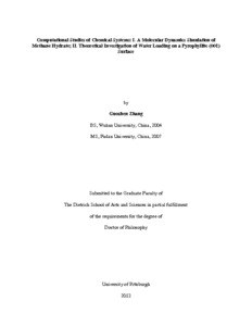 Computational Studies of Chemical Systems  I  A Molecular Dynamics Simulation of Methane Hydrate  II  Theoretical Investigation of Water Loading on a